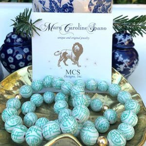 Chinoiserie Porcelain Stretch Bracelet - 10mm Bead