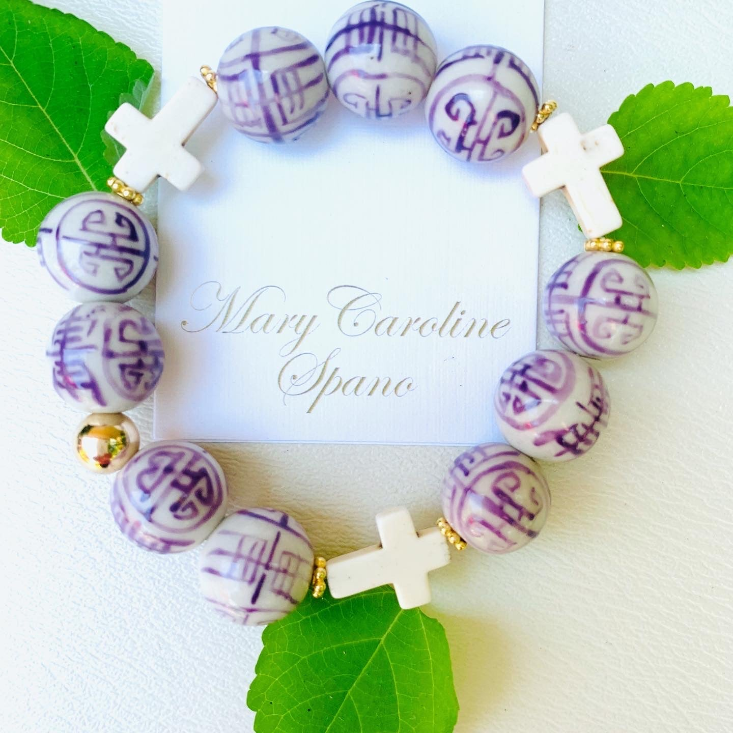 Chinoiserie faith bracelet - Lavender purple
