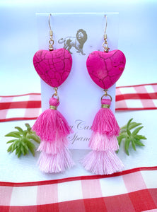 Triple tier tassel heart earring