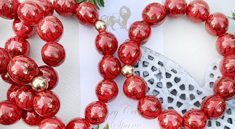 Luxe chinoiserie Bracelet- red