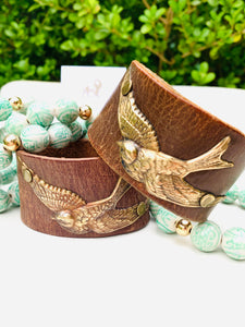Recycled Leather Brass Swallow Cuff Bracelet