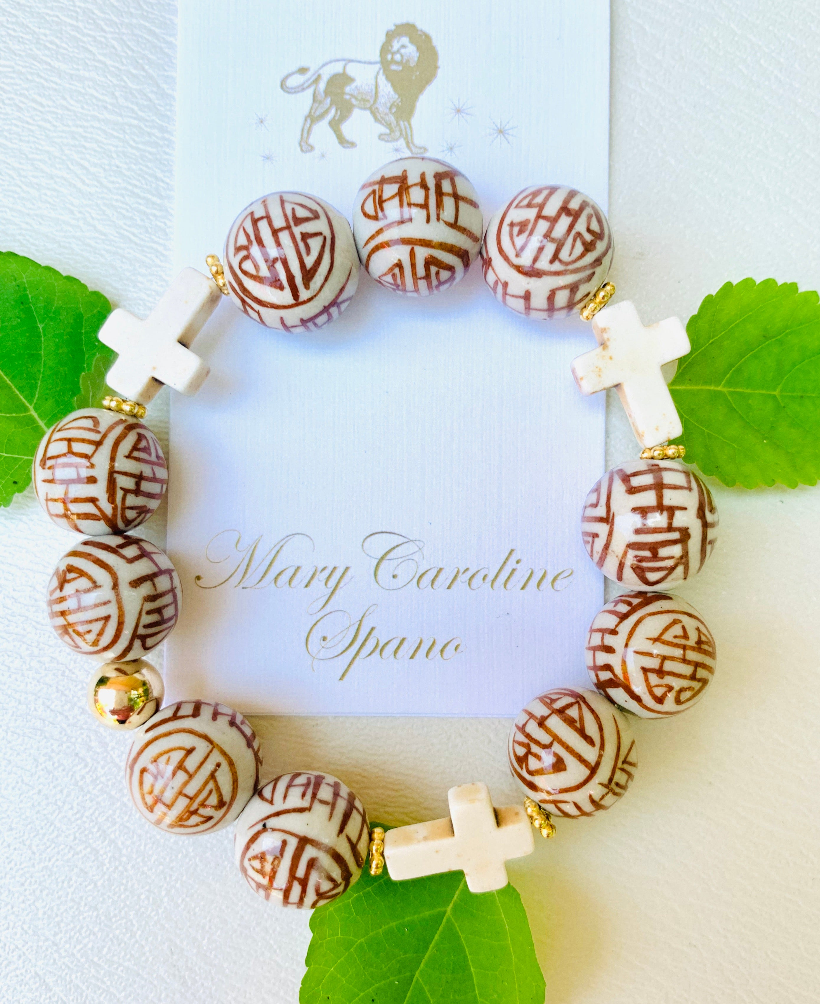 Chinoiserie faith bracelet-Cappuccino brown