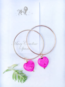 14k Gold Plate Heart Hoops