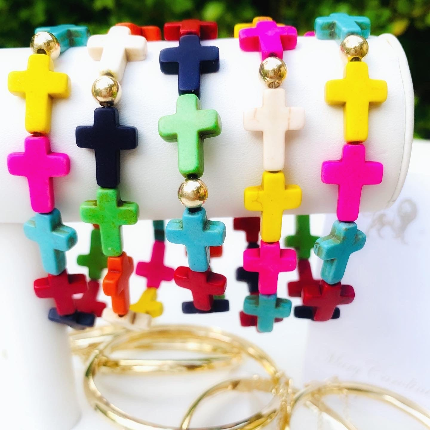 Multicolor Cross Stretch Bracelet