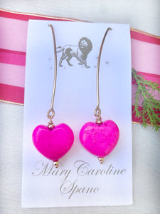 """Wishbone"" hot pink heart earrings"