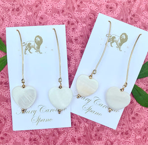 "Mother of pearl heart ""wishbone "" earring"