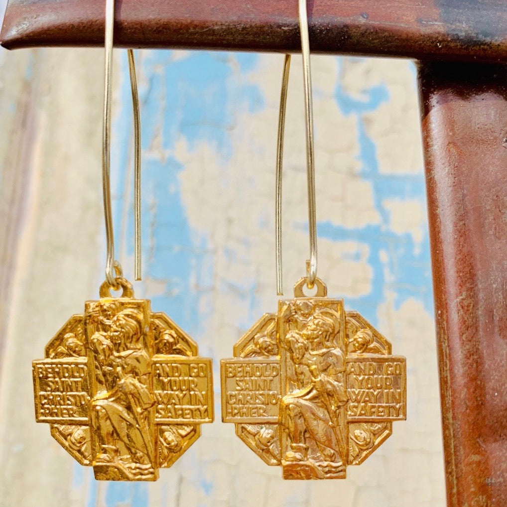 St. Christopher medal earrings