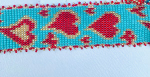 Turquoise and red seed bead heart bracelet