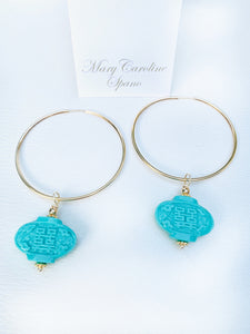 Gold plate hoop with turquoise lantern