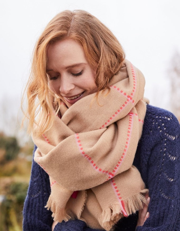 Joules - Stamford Checked Wide Scarf