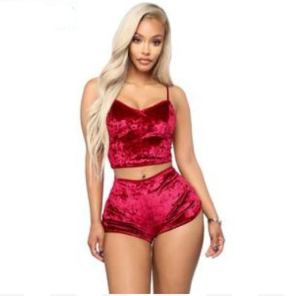 Women's 2 piece velvet spaghetti strap crop top