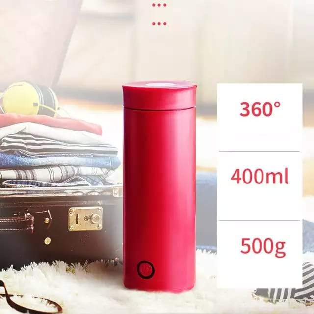 Portable Travel Electric Heating Bottle Water Cup Mini Smart Thermos Teapot
