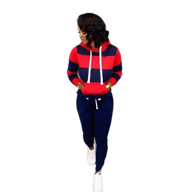 Women's two pcs long sleeve pull over hoodie drawstring/tracksuit set