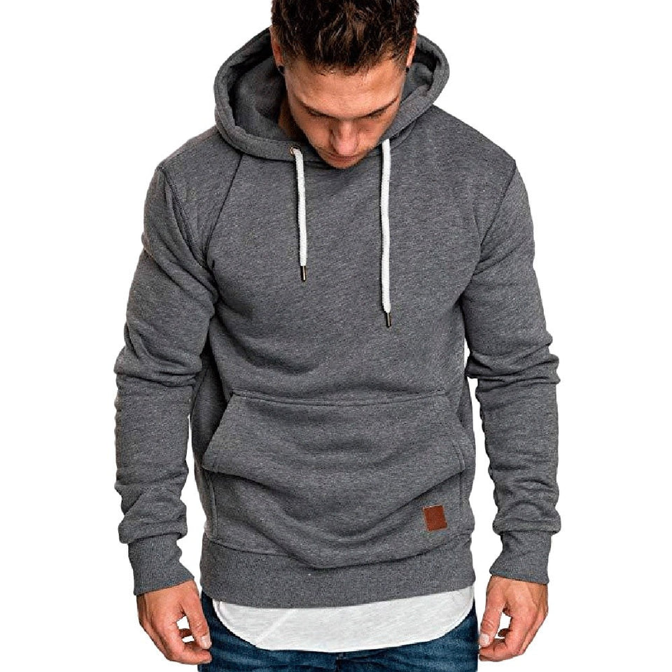 Men's solid hoodies long sleeve sweatshirt
