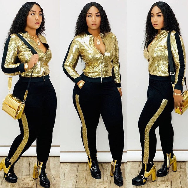 Women's 2 piece matching long sleeve sparkly tracksuit