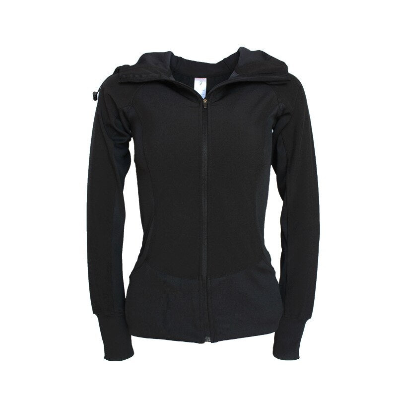 Women's long sleeve outdoor hooded zipper fitness top