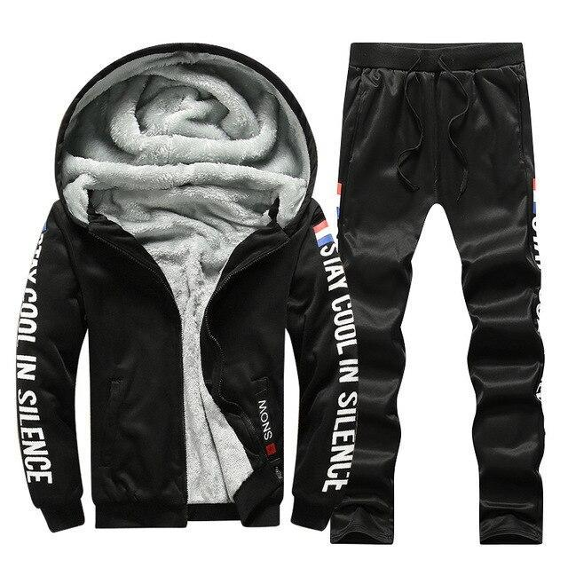 Men's letter print winter warm hooded outfit