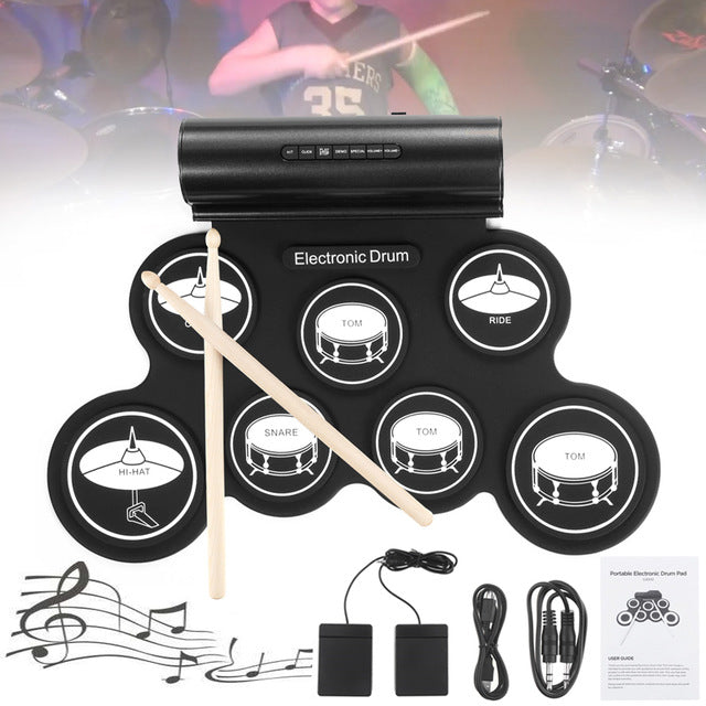 Electronic Drum Digital 7 Pads Roll up Set Silicone Drum Kit with Drumsticks