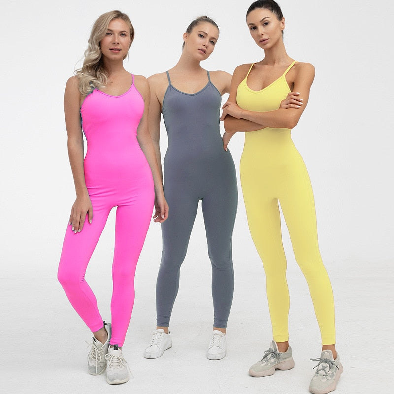 Women Gym Set One Piece Yoga Jumpsuit Backless Active Wear