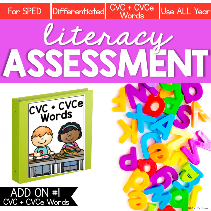 CVC and CVCe Word Lists Literacy Assessment ADD ON #1