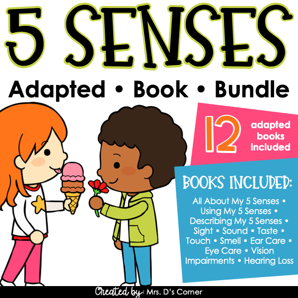 My 5 Senses Adapted Book Bundle [12 books!] Digital + Printable Adapted Books