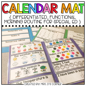 Interactive Calendar Mats (for the Special Education Classroom)