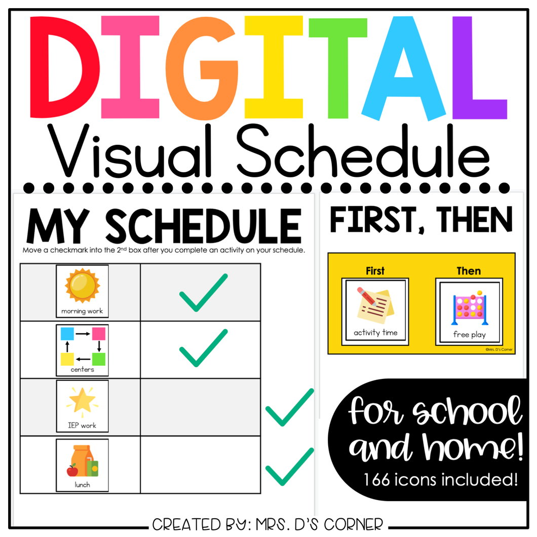 Digital Visual Schedule for School and Home [150+ icons] | Distance Learning