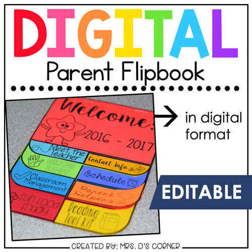 Digital Parent Flipbook | Back to School Flipbook for Meet the Teacher