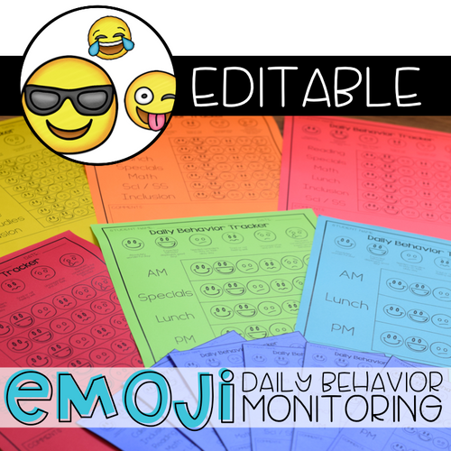 Editable Emoji Daily Behavior Monitoring Form | Communication Notebook