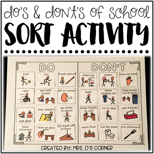 Do's and Don't's of School [Sorting Activity for Special Education]