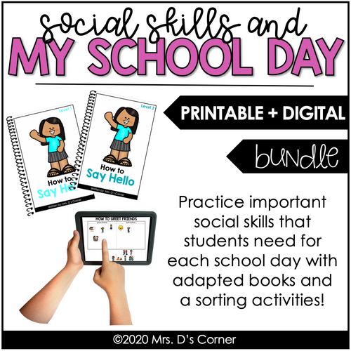My School Day Social Skills Bundle | Adapted Books + Sorting Activities