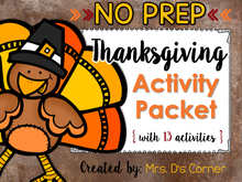 Load image into Gallery viewer, NO PREP Thanksgiving Activity Packet [13 activities]