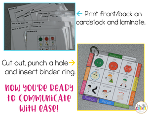 Core Vocabulary Binder Ring | Core Board Binder Ring AAC
