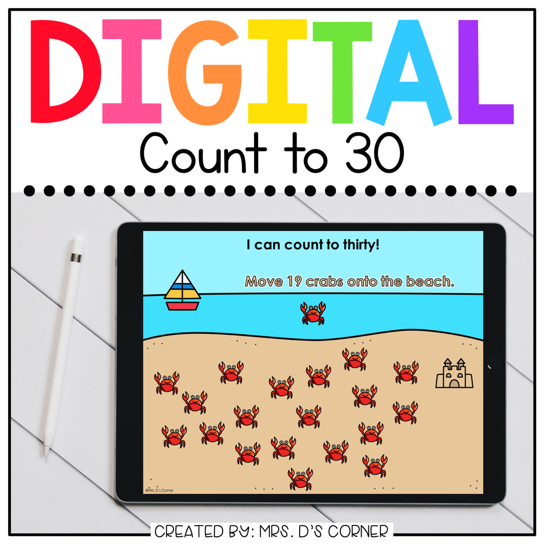 End of Year Counting to 30 Digital Activity | Distance Learning