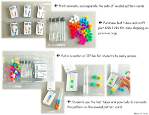 Test Tube Pattern Cards - Math Center [6 Levels of Patterns!]