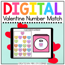 Load image into Gallery viewer, Valentine Number Matching Digital Activity | Distance Learning
