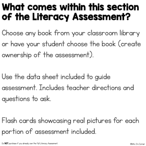 Concepts About Print Assessment - Literacy Reading Assessment for Special Ed