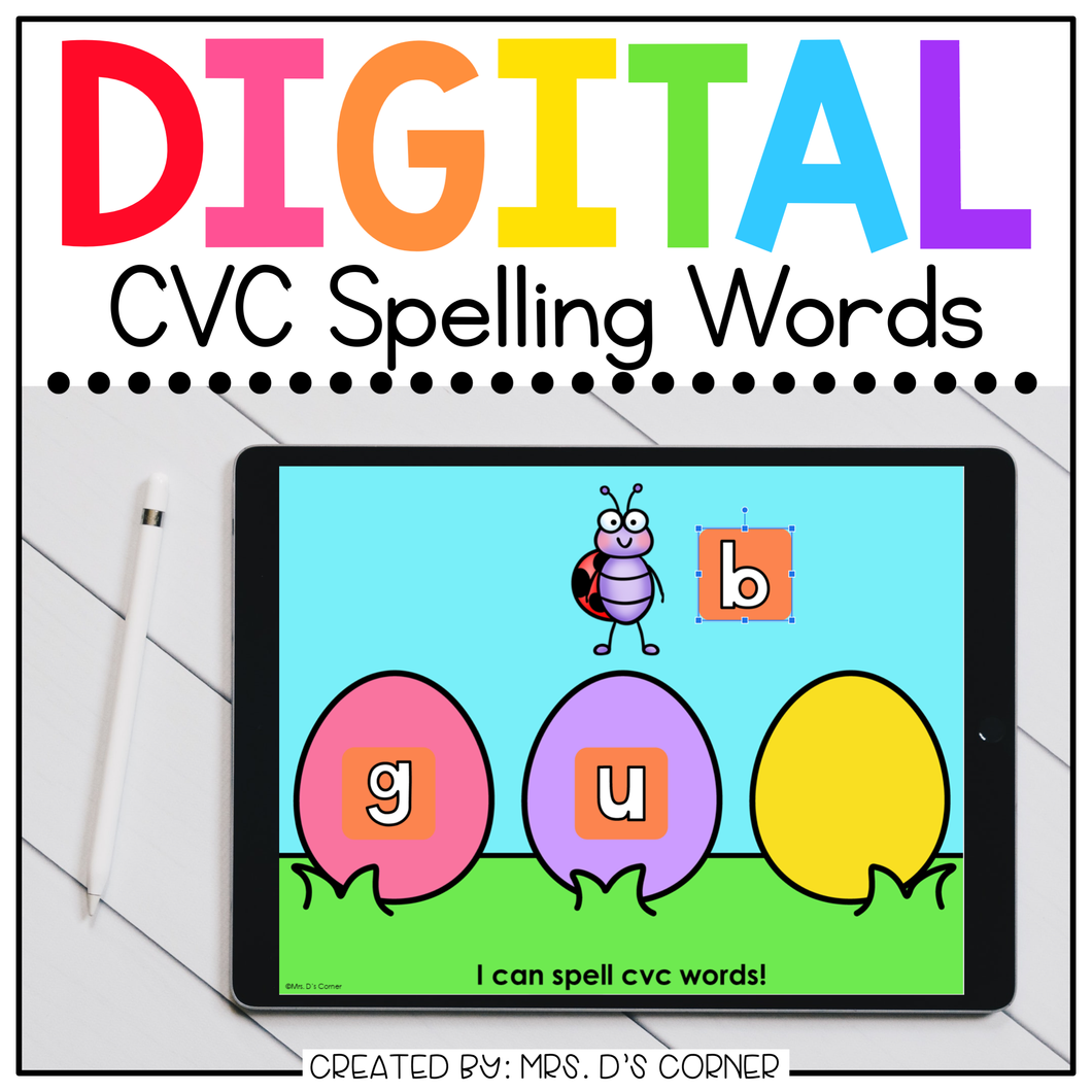 Easter CVC Word Spelling Digital Activity | Distance Learning