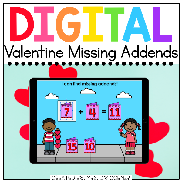 Valentine Missing Addends Digital Activity | Distance Learning