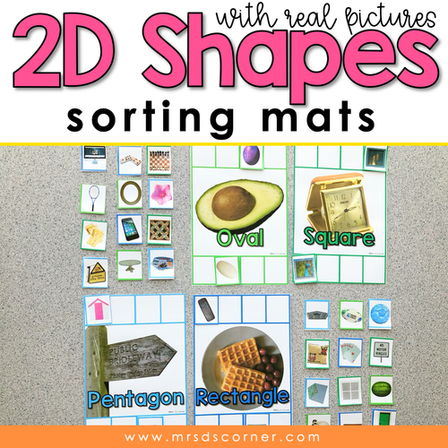 2D Shapes Sorting Mats with REAL Photos | 2D Real Life Shape Sorting Mats