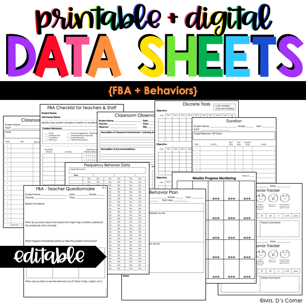 Functional Behavior Assessment + Behavior Data Forms | Editable Data Sheets