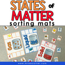 Load image into Gallery viewer, States of Matter Sorting Mats [3 mats included] | Solid Liquid Gas Sorting Mats