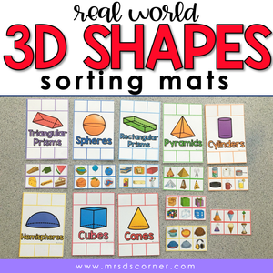 Real World 3D Shapes Sorting Mats [8 mats included] | 3D Shapes Sorting Activity