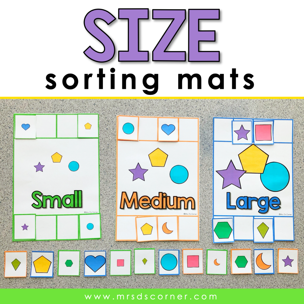 Size Comparison Sorting Mats [3 mats] | Small Medium Large Size Sorting Activity