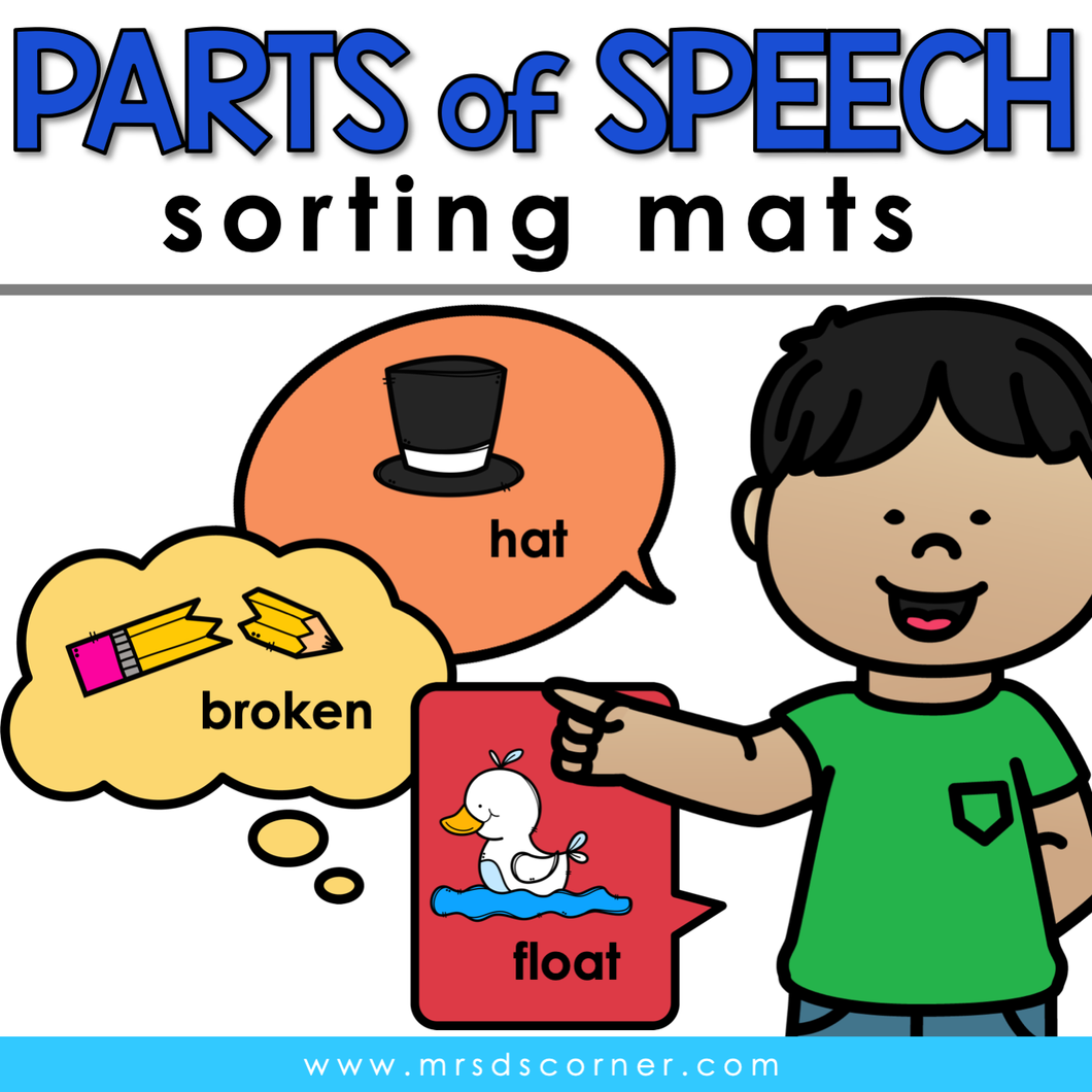 Parts of Speech Sorting Mats [3 mats!] for Students with Special Needs