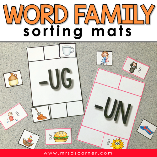 Word Families Sorting Mats [18 mats!] for Students with Special Needs