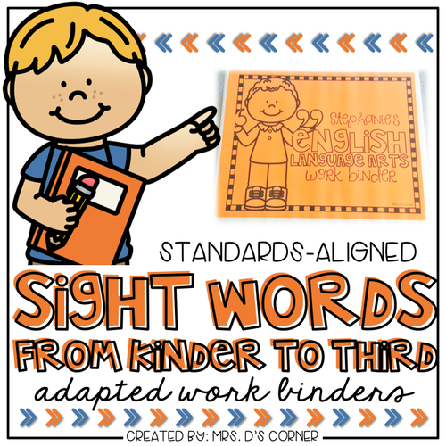 Sight Words Adapted Work Binder® | Grades K-3 Sight Word Work for Special Ed