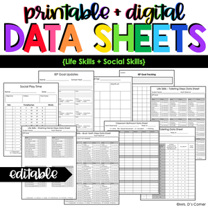 Life Skills + Social Play Data Forms | Editable Data Sheets