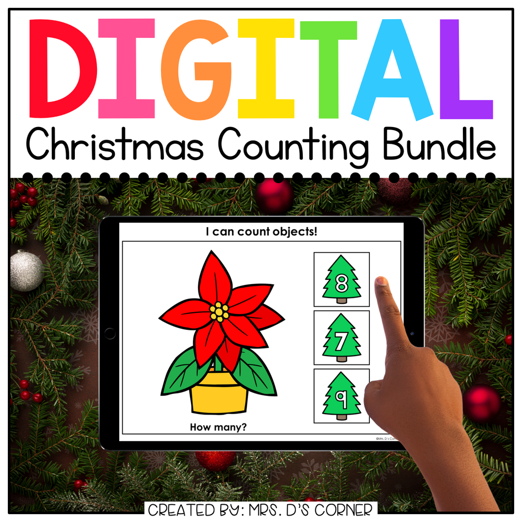 Digital Christmas Themed Counting to 20 Activity Bundle | Distance Learning
