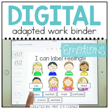 Load image into Gallery viewer, DIGITAL Adapted Work Binder ( Emotions - Feelings )